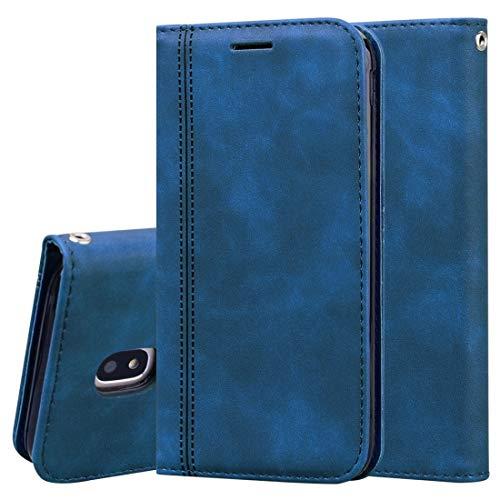 LENASH For Samsung Galaxy J5 / J530 (UE) FRUSTED Business Magnetic Horizontal Flip PU Funda de Cuero con Soporte y Ranura for Tarjeta y cordón Funda para Phone (Color : Blue)