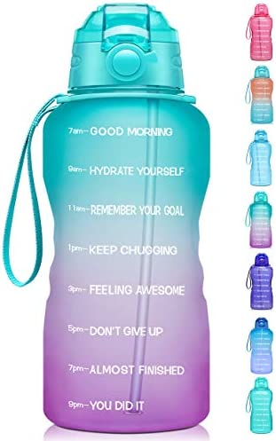 Giotto Large 1 Gallon 128oz Motivational Water Bottle with Time Marker Straw Leakproof Tritan product image