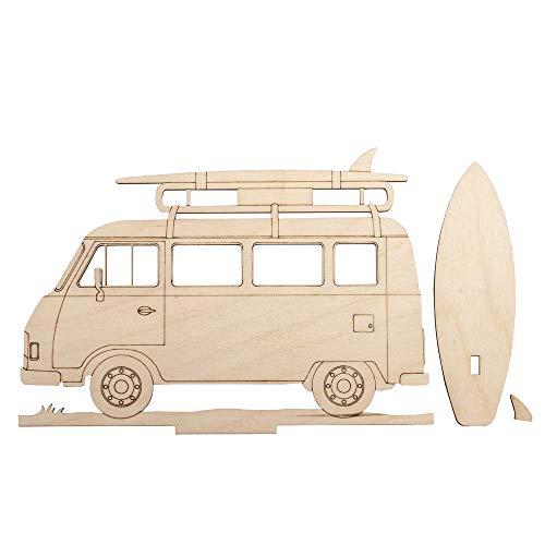 Rayher 46424505 Holzmotiv Campingbus, FSC zertifiziert, natur, 20 x 13,8 x 0,4 cm, 3teilig, zum basteln und bemalen