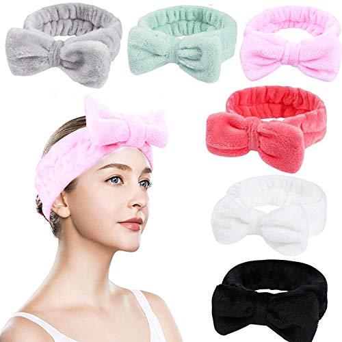 6 Stück Spa-Stirnband Bowknot Haarband für Make up Kosmetische Stirnbänder Korallen Samt Elastisches Haarband zum Beauty Sport Yoga Dusche Make-up für Frauen