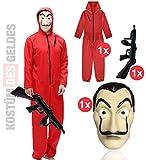 Conjunto de disfraces - House of Money para niños con máscara de Dali Salvador, rifle inflable, mono rojo para Carnaval y Halloween