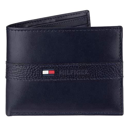 Tommy Hilfiger Herren Geldbörse aus Leder – schmales Faltfach mit 6 Kreditkartenfächern und abnehmbarem Ausweisfenster - Blau - Einheitsgröße