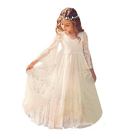 CDE Boho Lang Kinder Spitzenkleid mit Trompetenärmel und Gürtel/Chic A-Linie Kommunionkleider Brautjungfern Kleider Blumenmädchenkleider für Mädchen 2-12Jahre(Elfenbein, Größe 12)