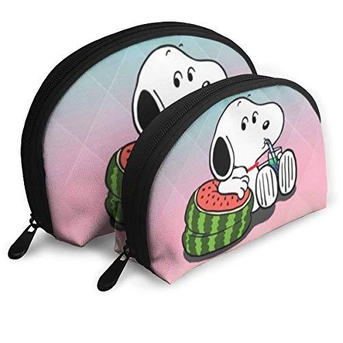 Snoopy Sac de Maquillage d'été Sacs de Voyage Petit Sac de Coquille Pochette de Toilette Portable Pochette 2Pcs