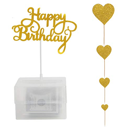 yalansmaiP Cake Money Box Money Pulling Cake Making Mold with Happy Birthday Cake Topper Glitter Heart Cake Toppers Food Contact Safe Birthday Party Decoration