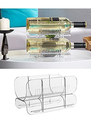 HJHIWE Organizador apilable de almacenamiento para botellas de agua y vino, soporte vertical de plástico para botellas de vino, estante de vino de gama alta para cocina, encimera, nevera, bar, sótano.