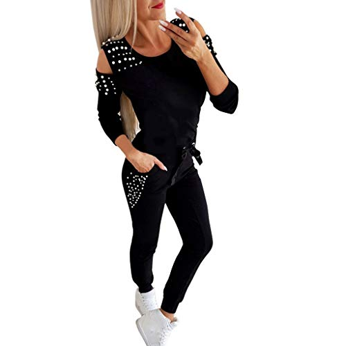 PPangUDing Trainingsanzug Sportanzug Jogginganzug Damen Sexy Schulterfrei Lange Ärmel Strass Perlen Pullover Sweatshirt Top + Lange Hose Sportswear 2 Stück Set Sport Yoga Freizeit Outfit Hausanzug