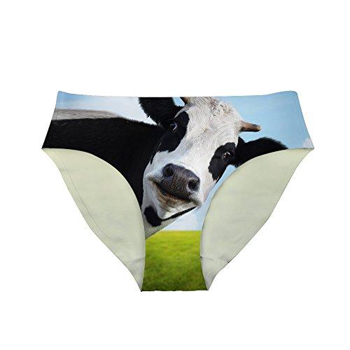 Xinind Funny Underwear for Women 3D Cute Alpaca Panties Hipster-Panties Low Waist Sexy Ladies Panties, Cow, Small