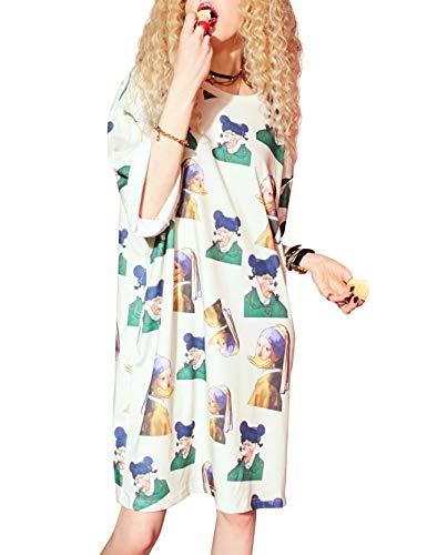 Elf Sack Donna VestitoAbiti Rotondo Manica Corta all Over Print Summer Loose Casual T Shirt Mini Dress Beige L