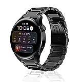 SeNool Correas Compatible con Huawei Watch 3 /3 Pro Pulsera de Repuesto de Metal de Acero Inoxidable Compatible con Huawei Watch GT 2 46 mm /GT 2e (22MM) Negro