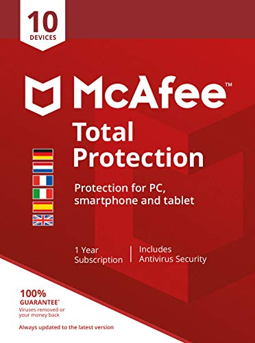 McAfee Total Protection 10-Device [AMZ]|Standard|10|1 année|PC/Mac/Android|Telechargement