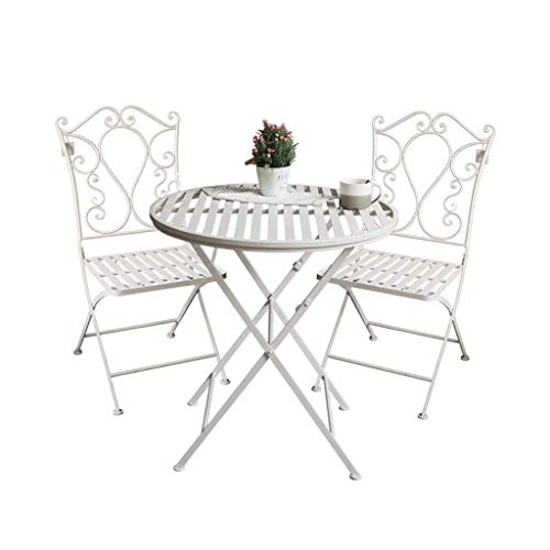 Lucky star Garden Bistro Patio Foldable 3 Piece Metal Set Garden Folding Balcony Furniture Table and Two Chairs, Patio Dining Table