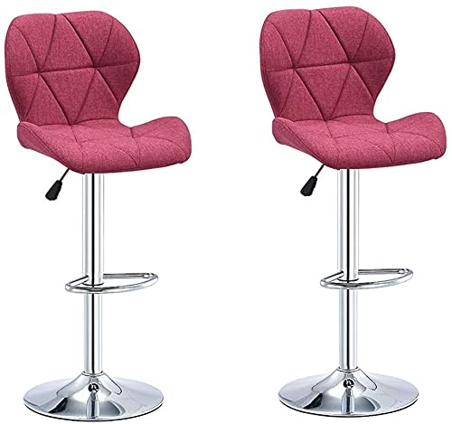 WENJIA Bar Stools Set of 2 Counter Height, Swivel Bar Stools with Backs,for Kitchen Indoor Home Adjustable Barstools (Color : Dark Purple, Size : Set of 2) (Color : Rose Red, Size : Set of 2)