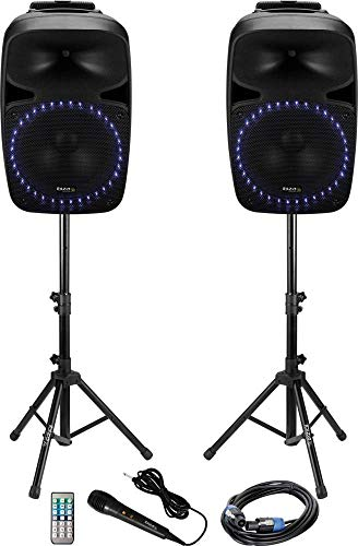 Ibiza Sound Aktives PA-altavoz-Set PKG12A Bluetooth, incl. micrófono, Eingebauter Lichteffekt