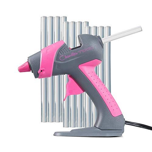 Chandler Tool Mini Glue Gun - 25 Watt Mini Size High Temp Hot Melt Mini Glue Gun Kit with 12 Pcs Mini Hot Glue Sticks, Patented Base Stand &, for Arts & Crafts, DIY & More (Pink)