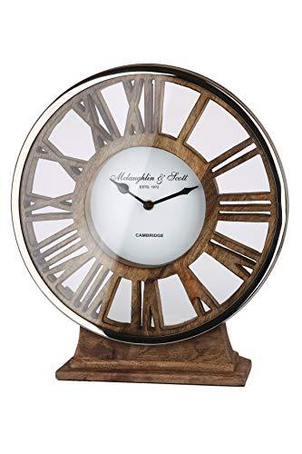 GILDE Uhr - Alu Standuhr mit Holz auf Fuß für eine AA Batterie H 34 cm B 21 cm