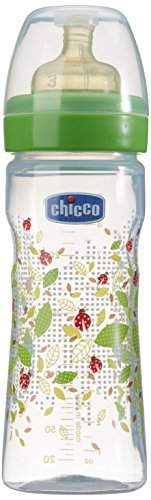 Chicco 707600 Benessere Biberon, Flusso Regolabile, Caucciù, Verde, 250 ml