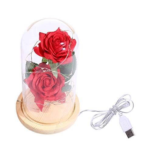 Uonlytech - Doble Rosa de Seda roja con Cable de Cobre USB y luz LED en Base de Madera con Mando a Distancia para San Valentín (marrón)