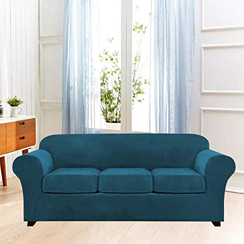 B/H 3 Plaza Funda de Sofá Elástico Cubierta,Funda de sofá elástica de Color sólido, Funda de sofá de Tela Simple-B_173-229cm,Funda sofá Duplex