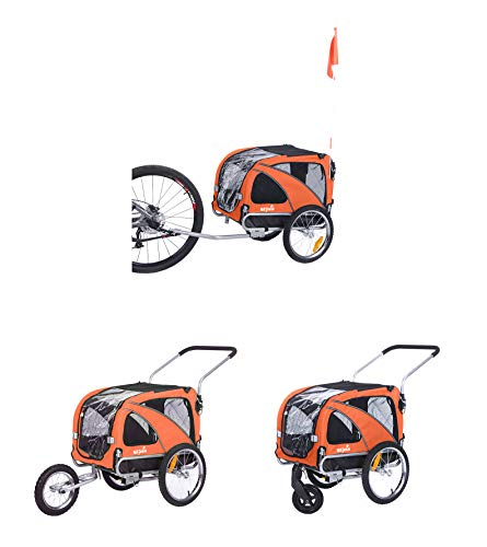 Sepnine & Leonpets Dog cart of 2 in1 Medium pet Dog Bike Trailer Bicycle Carrier and Jogger 10201 with a 6' Swivel Front Wheel