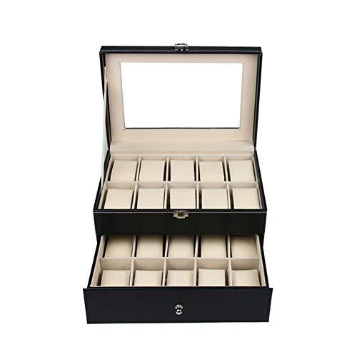 Caja de reloj Cajas de reloj de doble capa exhibición del reloj 20 cuadrículas caja de reloj de almacenamiento cuadro de visualización, Organizador Con Tapa transparente Para los regalos a la familia