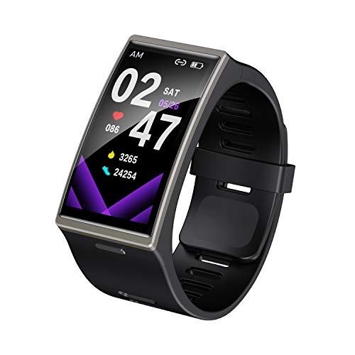 Refly DM12 1.9 pulgadas pantalla grande pulsera inteligente para hombres, IP68 impermeable deporte fitness Tracker BT 5.0 ritmo cardíaco reloj inteligente para Android e iOS (negro)
