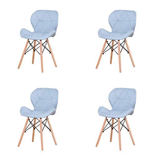LUCKEU Silla de comedor minimalista clásica con patas de madera de lino, marco de metal para cocina, sala de estar, juego de 4 (lino azul, 4)