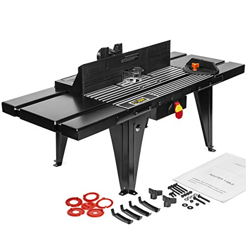 """XtremepowerUS Deluxe Bench Top Aluminum Electric Router Table Wood Working On/Off Swtich Craft DIY Benchtop (34"""" x 13"""") -Black"""