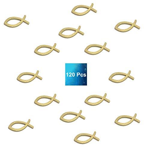 ShipeeKin 120 Stücke Holzfische Dekoration in Gold, Kommunion Fische Deko, Tischdeko, Streudeko Fische, Deko Taufe Junge, Deko Konfirmation (Gold)