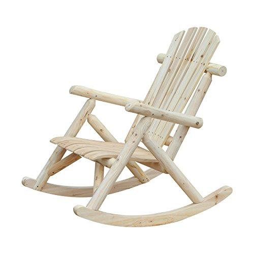 Outsunny Fauteuil de Jardin Adirondack à Bascule Rocking Chair Style néo-rétro Assise Dossier Ergonomique Bois Naturel de pin