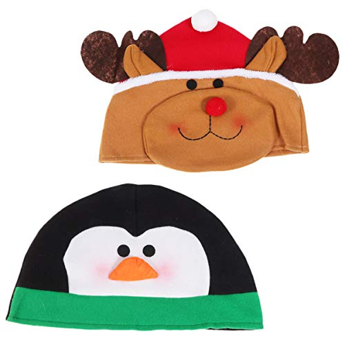 Amosfun 2pcs Christmas Santa Hat Plush Xmas Hat Reindeer Deer Elf Penguin Cap Holiday Party Props Costume Supplies