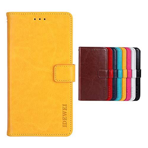 Botongda für TP-LINK Neffos C5A Hülle,Magnetverschluss Kunstleder Tasche mit Standfunktion & Kreditkartensteckplatz Flip Wallet Case Cover für TP-LINK Neffos C5A (Gelb)