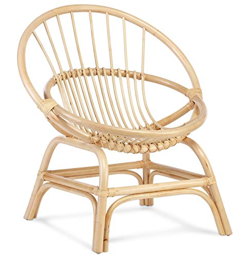 Desser Rattan Wicker Moon Chair in Natural or Black – Indoor Hand Woven Circular Cane Bedroom Chair – Arrives Fully Assembled – Dimensions H84cm x W75cm x D63cm