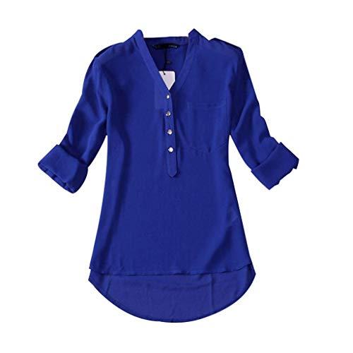 LUCKYCAT 1PC Mujeres Primavera Verano con Cuello en v Gasa Manga Larga Camisa Casual Blusa
