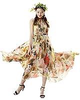 MedeShe Women's Summer Floral Long Beach Maxi Dress Lightweight Sundress (Lotus Floral, 3X-Large)