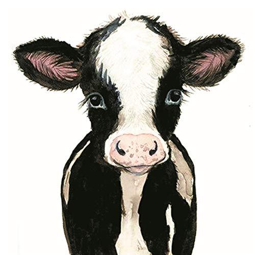 Kit de punto de cruz para manualidades con estampado de vaca leche, 11 quilates, kit de bordado hecho a mano, 40 x 40 cm