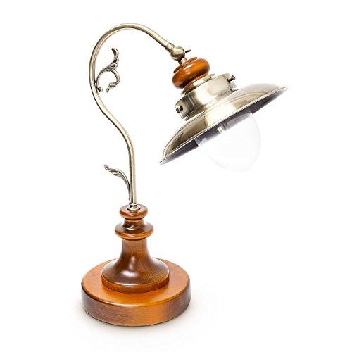 Relaxdays Tischlampe Steampunk Design, Tischleuchte Jugendstil im Vintage Look, Nachttischlampe E27 Fassung Holz und Eisen in Messing-Optik mit Glas, braun