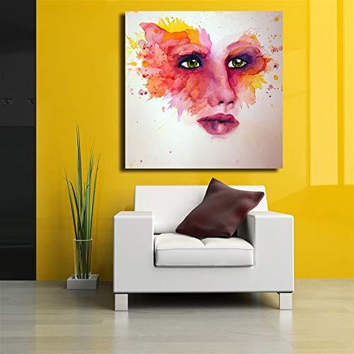 Aquarel gezicht make-up ogen open mond close-up lippenstift lippen helder Wall Decor Canvas Poster Print op canvas19.7x29.5inch