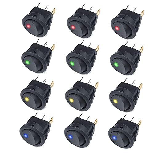 YepYes Interruptor basculante Ronda de balancín Interruptor de Palanca On Off Pulse el botón 12V 20A del Coche camión basculante de conmutación con LED Panel Negro 12PCS