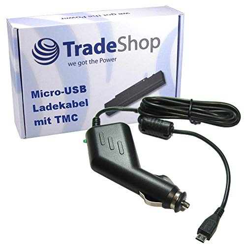 Premium Micro-USB 2A KFZ-Ladekabel 12V/24V mit TMC Antenne (1,1m Länge) für Tomtom Start 60 60m Europe Traffic Start 40 50 GO 40 50 60 500 5000 600 6000