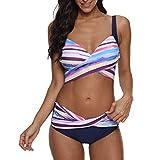 OIKAY Bikini Set Push Up Damen Bademode Zweiteilige Neckholder Bikini High Waist Bikinihose Split Badeanzug Strandkleidung