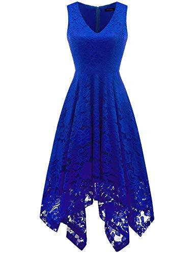 Meetjen Damen Elegant Cocktailkleid V-Ausschnitt Spitzenkleid Unregelmässig Taschentuch Saum Festlich Partykleid Royalblue M