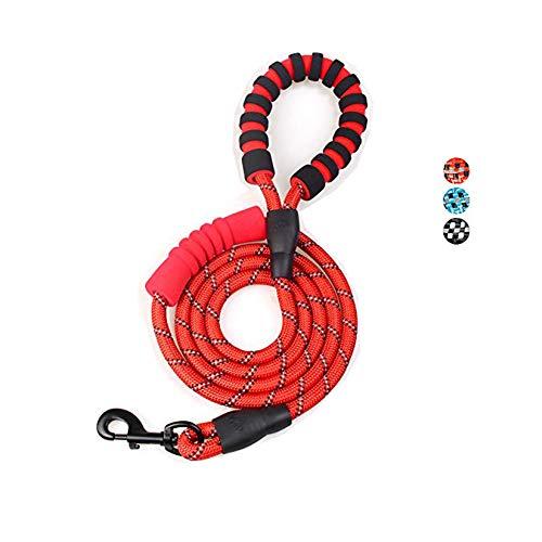 MEKEET Correa de Cuerda para Perro de 6 pies, Doble asa Acolchada Suave, Altamente Reflectante para Perros y Perros medianos y Grandes(Rojo)