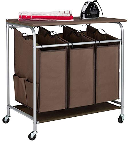 JINAMART Heavy Duty Laundry Sorter Bag Laundry Hamper Basket with Wheels Storage Cart + 2 Pockets Each Side (3 Bags with Iron Board, Brown)