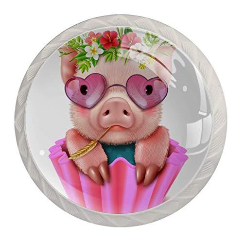Postre de gafas de cabeza de flor de cerdo 4 Piezas Perilla del Cajón del Gabinete,Mango de un Solo Orificio/Tirador de Puerta de Armario,Decoración del Hogar de Gabinete y Decoración del Hogar