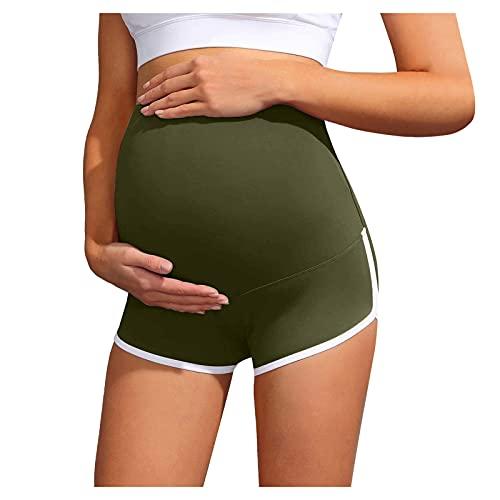 KYZRUIER Pantalones cortos de yoga de maternidad sobre el vientre, pantalones cortos activos para mujer embarazada, glúteos, pantalones de yoga