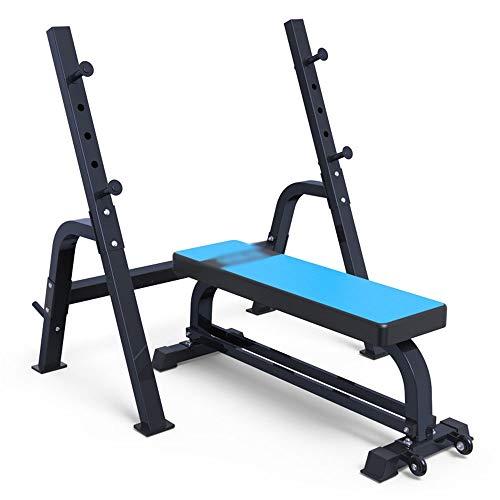 JenLn Ajustable Banco de Pesas olímpico con la Pierna desarrollador y Jaula de Sentadillas Bancos de Entrenamiento (Color : Blue, Size : 136x44x46cm)