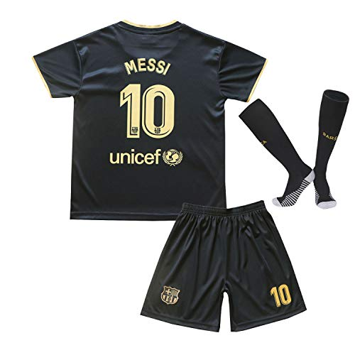 MGGALY Messi #10 Barcelona Away 2020/2021 Season Kids Youth Sport T-Shirts & Shorts & Socks (13-14Year/Size28) Black