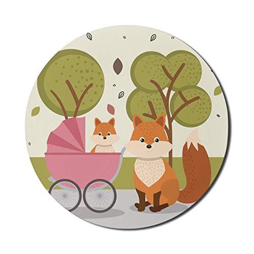 Fox Mouse Pad für Computer, Red Coyote Familie Fox Baby Trees Park Kinderwagen, Runde rutschfeste dicke Gummi Modern Gaming Mousepad, 8 'Runde, Olivgrün Multicolor