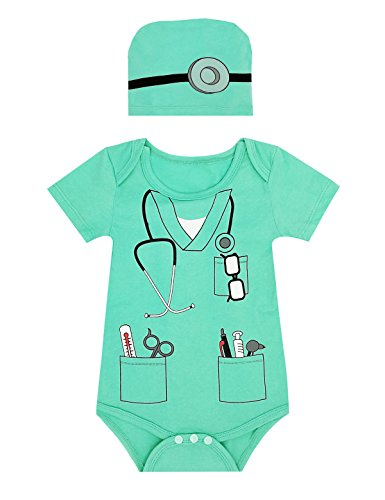 LENSOUS Baby Boys' Doctor Costume Bodysuit (12-18 Months, Doctor)
